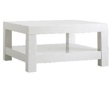 West Elm Parsons White Lacquer Coffee Table
