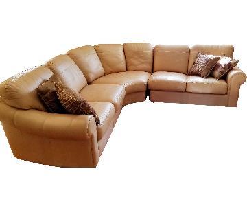 Tan Leather Corner Sectional Sofa