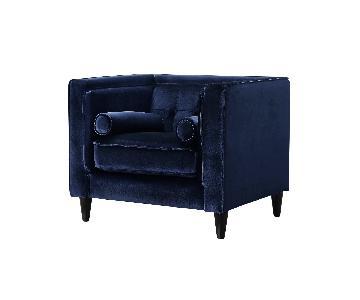 Meridian Furniture Navy Velvet Accent Chair