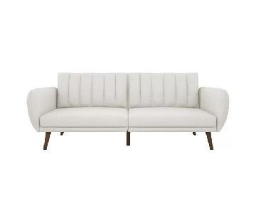 Off-White Sleeper Sofa w/ Wood Legs & Cushions