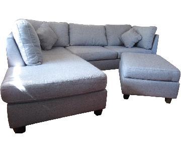 2 Piece Sectional Sofa & Ottoman