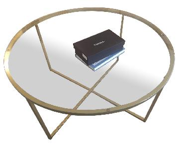 Antique Gold Round Glass Coffee Table