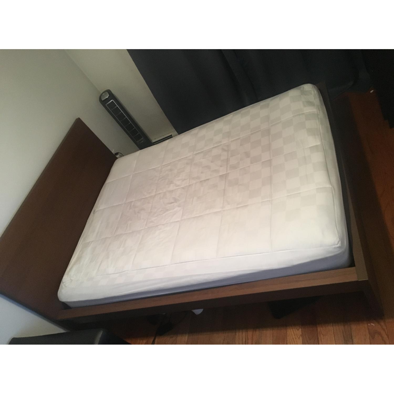 West Elm Solid Brown Wood Queen Bed