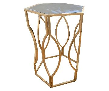 Brass Mirrored Accent Table