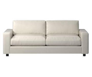 West Elm Urban Leather Sleeper Sofa & Ottoman