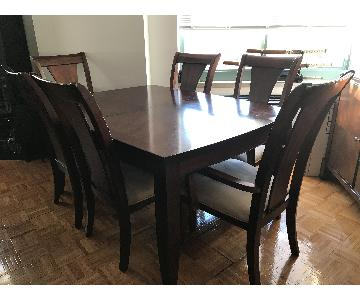 Dark Wood Expandable Dining Table w/ 4 Chairs