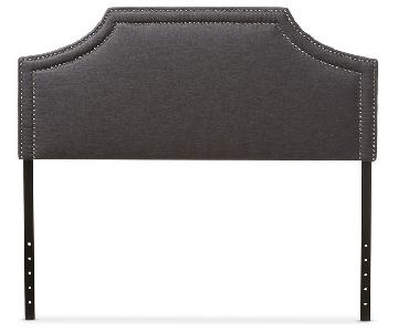 Dark Grey Fabric Upholstered Queen Headboard