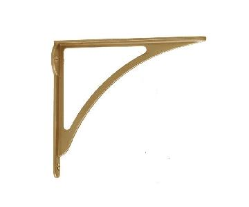 Rejuvenation Arched Shelf Bracket in Aged Brass
