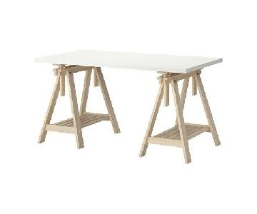 Ikea Linnmon White & Beech Desk Table w/ 4 Chairs
