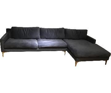 WH Design Blue Velvet Seymour Sectional Sofa