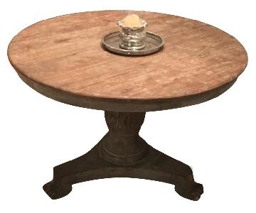 ABC Carpet and Home Round Natural Wood Finish Dining Table