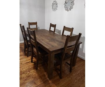 Coaster Coleman Rustic Dining Table w/ 6 Chairs