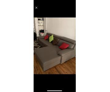 Gray Faux Leather 3-Piece Sleeper Sectional Sofa