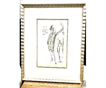 Vintage Louise Feraud Framed Fashion Sketch