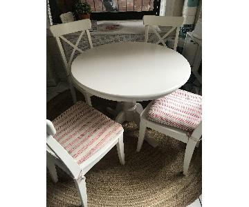 International Concepts White Dining Table w/ 4 Ikea Chairs