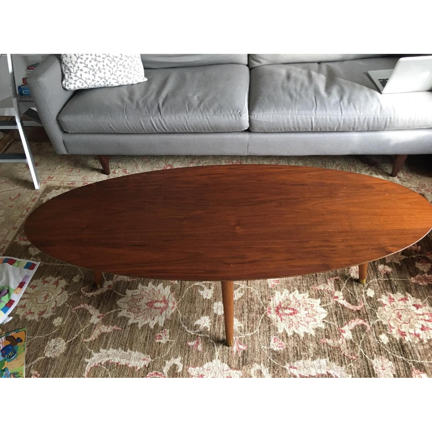 West Elm Reeve Mid Century Oval Coffee Table W Walnut Top Aptdeco