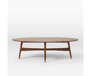 West Elm Reeve Mid-Century Oval Coffee Table w/ Walnut Top