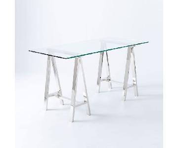 West Elm Cross Base Desk w/ Glass Top/Nickel Base