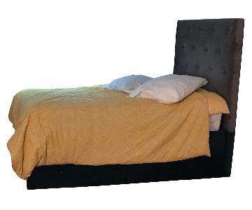 West Elm Diamond Tufted Headboard w/ Storage Bed Frame