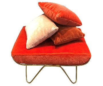 Honore Mohair Bench w/ 3 Decorative Pillows
