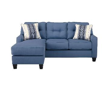 Jennifer Furniture Port Blue Sectional Sofa w/ Chaise
