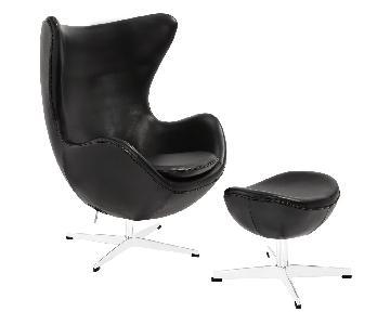 Manhattan Home Design Glove Leather Lounge Chair & Ottoman