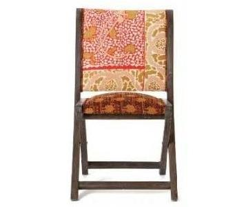 Anthropologie Folding Wood & Fabric Chairs