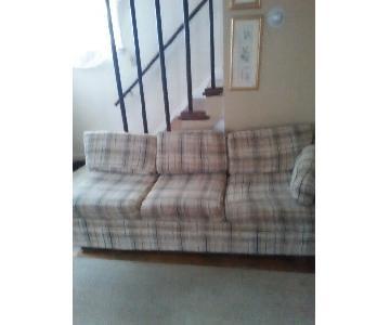 Plaid Upholstered Sleeper Sofa