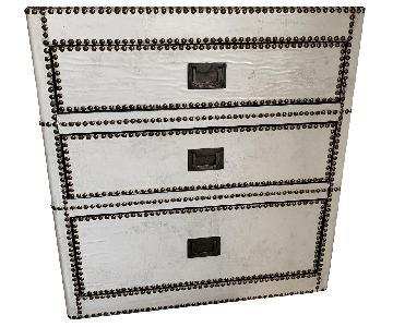 Restoration Hardware White Leather Nightstand