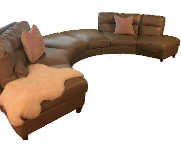Bloomingdale's Leather Curved Sectional Sofa