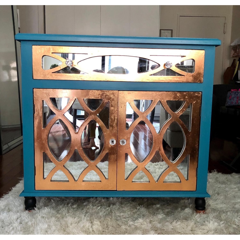 Teal Custom Mirrored Cabinet w/ Rose Gold Leaf Gilding-0