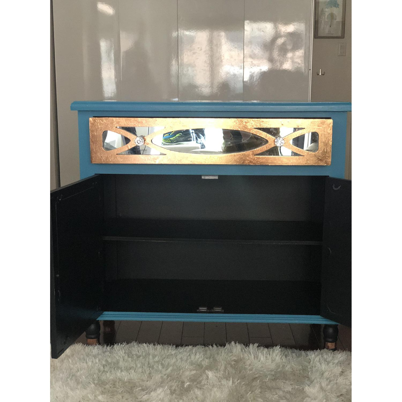 Teal Custom Mirrored Cabinet w/ Rose Gold Leaf Gilding-2