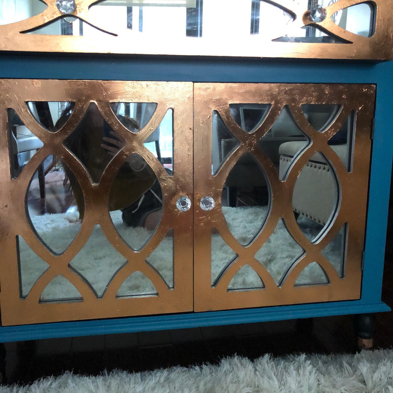 Teal Custom Mirrored Cabinet w/ Rose Gold Leaf Gilding-3