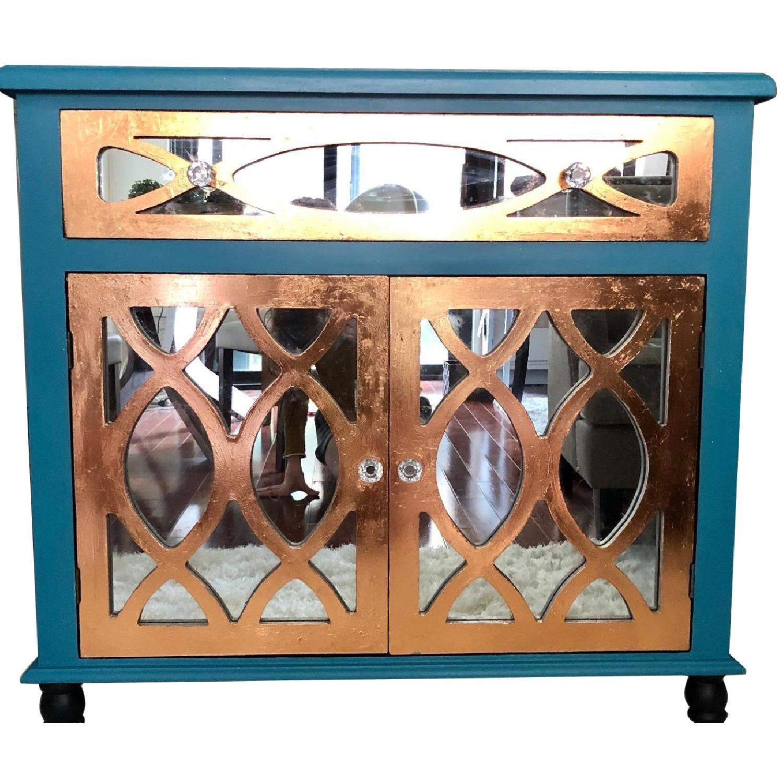 Teal Custom Mirrored Cabinet w/ Rose Gold Leaf Gilding