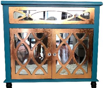 Teal Custom Mirrored Cabinet w/ Rose Gold Leaf Gilding