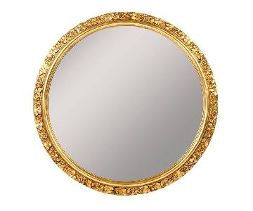 Antique 1920's Wood Round Filigree Gilded Frame Wall Mirror