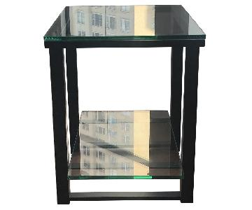 Crate & Barrel Wood & Glass Side Table