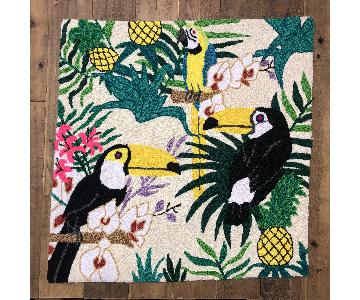 OOAK Raw Needle Point Tapestry Parrot Toucans Wall Art