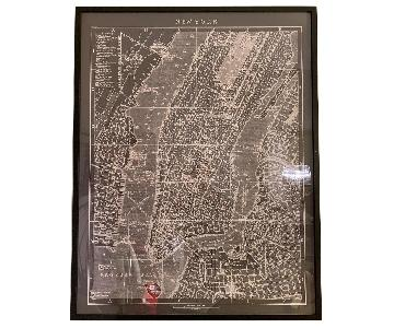 Restoration Hardware Circa 1900 Map of New York Lithograph