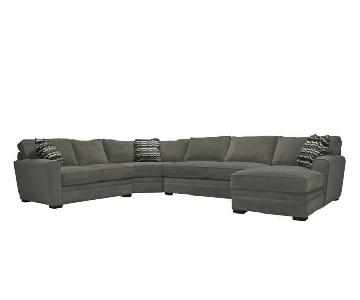 4-Piece Suede Sectional Sofa