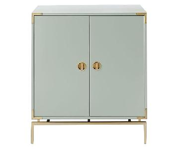 West Elm Malone Campaign Lacquer Bar Cabinet