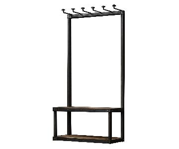 Restoration Hardware Metal Coat Rack w/ Built in Bench
