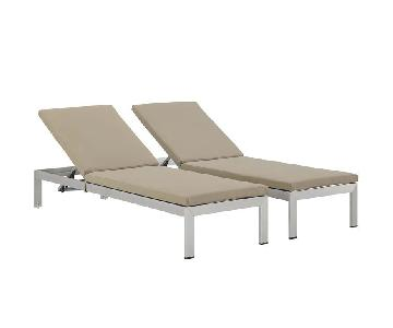 Shore Outdoor Patio Aluminum Chaises w/ Cushions