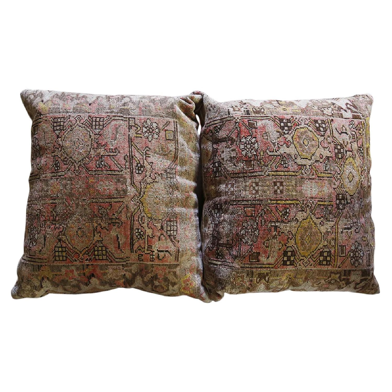 Large Pillows w/ Leather & Oriental Rug Upholstery