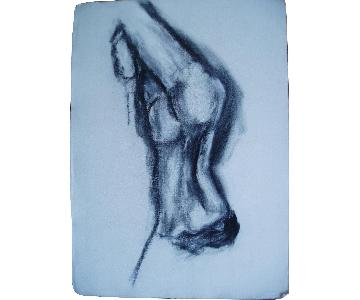 Contemporary Nude Female Figure Drawing Charcoal