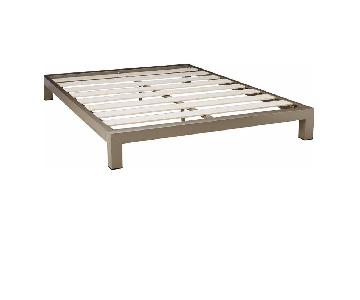 Metal Platform Queen Bed Frame in Champagne