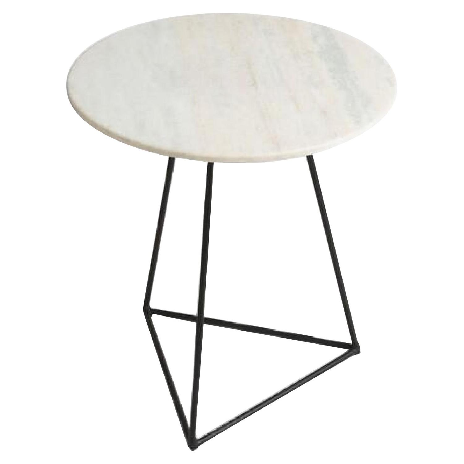 World Market Round White Marble & Metal Side Table