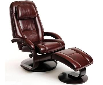 Mac Motion Oslo Recliner & Ottoman w/ Cherry Wood
