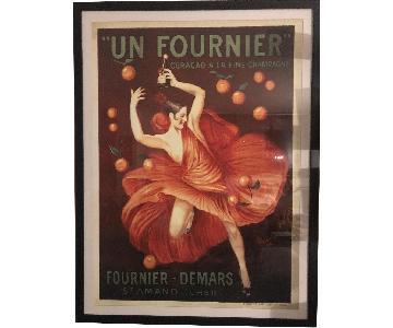 Vintage French Champagne Poster in Black Frame