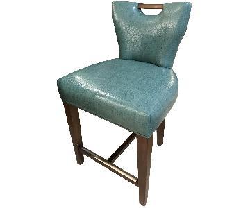 Custom Walnut & Teal Upholstered Stools